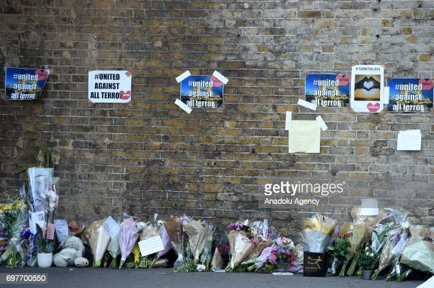 Flowers near the scene of a terror attack that happened in the early hours of this morning on June 19 2017 in London England Worshippers were struck...