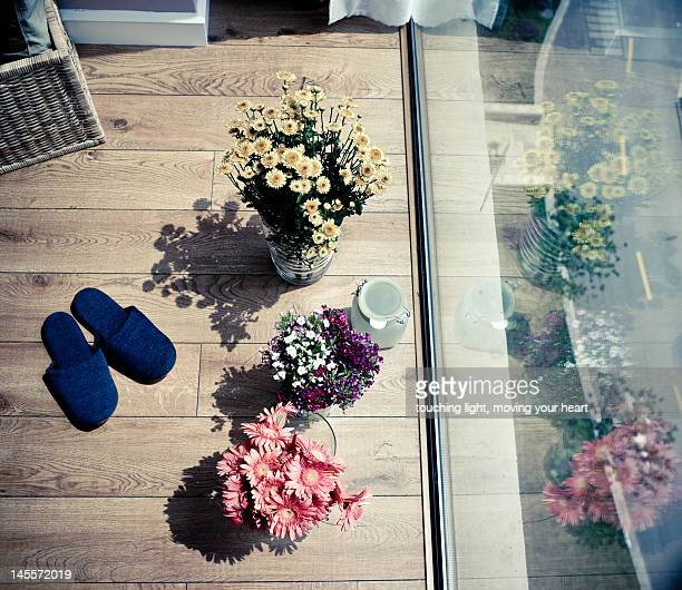 flowers next to window - next to stock pictures, royalty-free photos & images