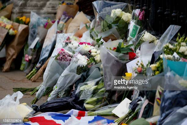 Flowers of tribute for Britain's Prince Philip are seen outside Buckingham Palace in London, United Kingdom on April 09, 2021. Buckingham Palace...
