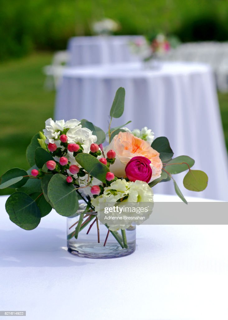 Flowers On An Empty Table At An Outdoor Wedding Stock Photo Getty