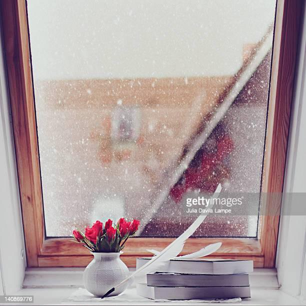 Flowers on garret window sill