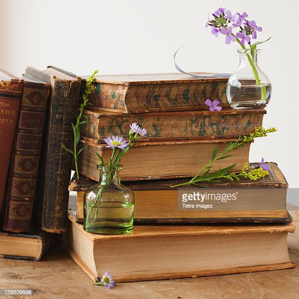 Flowers on old books
