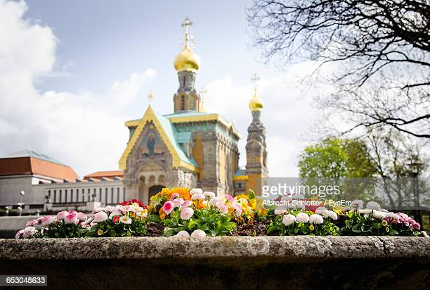 flowers on rock against russian chapel church - darmstadt stock-fotos und bilder