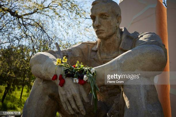 Flowers on the monument commemorating soldiers of the Soviet army who fought in Afghanistan on May 10, 2021 in Odessa, Ukraine.