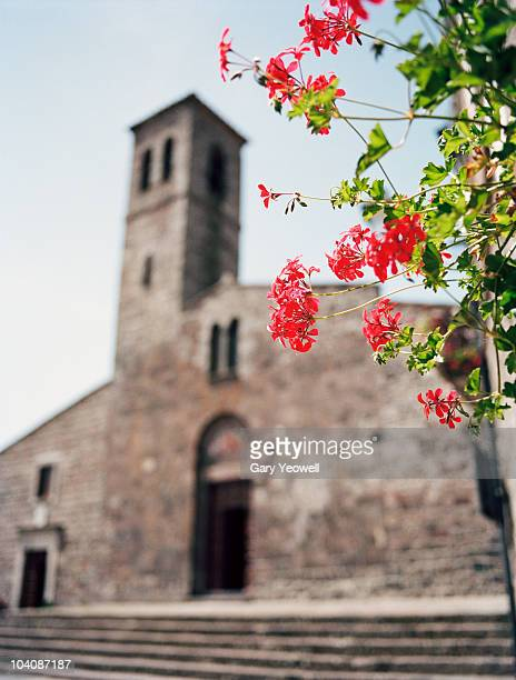 flowers outside a church - yeowell stock pictures, royalty-free photos & images