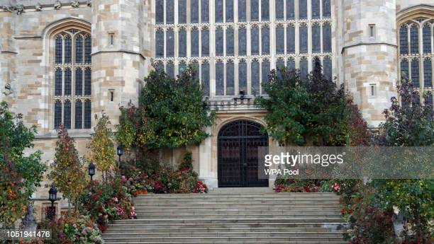 Flowers outside the West Door of St George's chapel ahead of the wedding of Princess Eugenie of York to Jack Brooksbank at Windsor Castle on October...