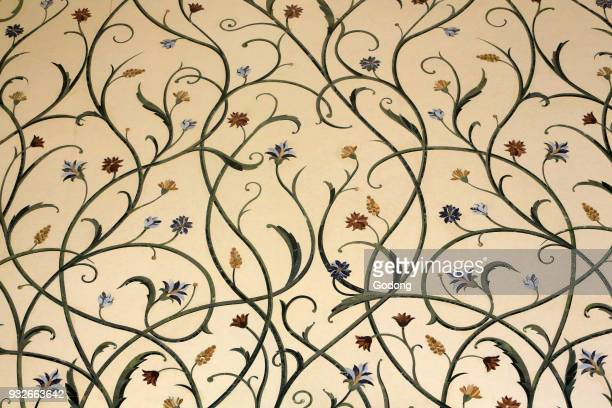 Flowers pattern Thousands of rare and semiprecious stones encrusted in marble were used to decorate the structure Sheikh Zayed Mosque 1995 Emirate of...
