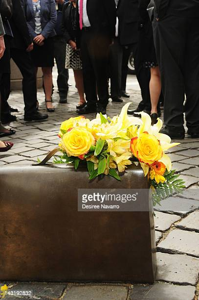 Flowers placed at the Raoul Wallenberg Centenary ceremony at Raoul Wallenberg Plaza on April 20 2012 in New York City