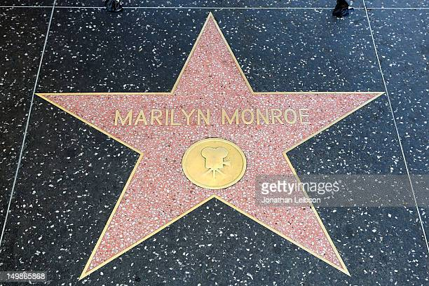 Flowers placed on Marilyn Monroe's Hollywood Walk of Fame star in memory of her passing 50 years ago on August 5 2012 in Hollywood California