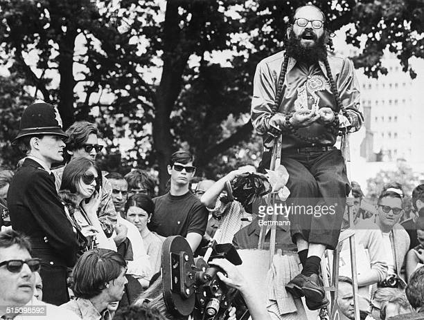 Flowers PotReform London The 'Star' of the Hyde Park 'Show' Alan Ginsberg sits on a perch intensely singing an Indian chant The listeners are intense...