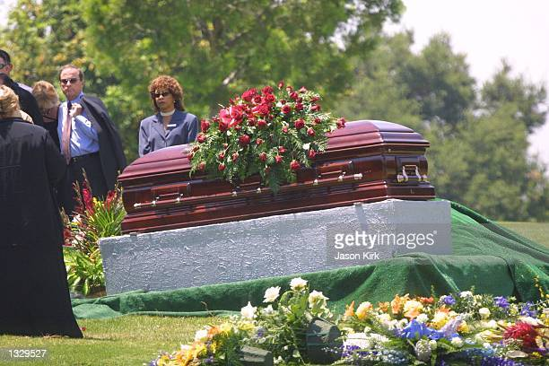 Flowers rest on top of the coffin of Matthew Ansara the son of actress Barbara Eden July 2 2001 at Ansara''s funeral in Hollywood CA Matthew Michael...