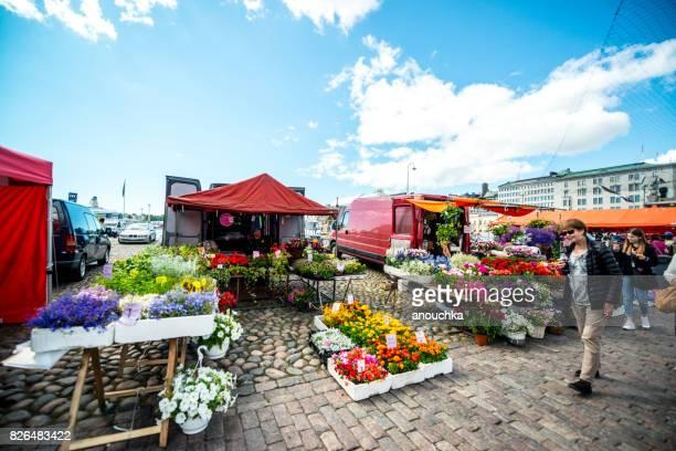 Flowers selling on Market Square, Helsinki, Finland
