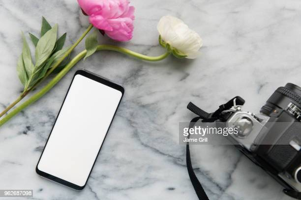 flowers, smart phone and digital camera - iphone mockup stock pictures, royalty-free photos & images