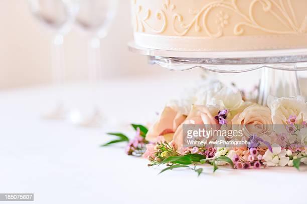 Flowers under Wedding Cake