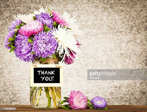 Blumen mit vielen Dank Nachricht
