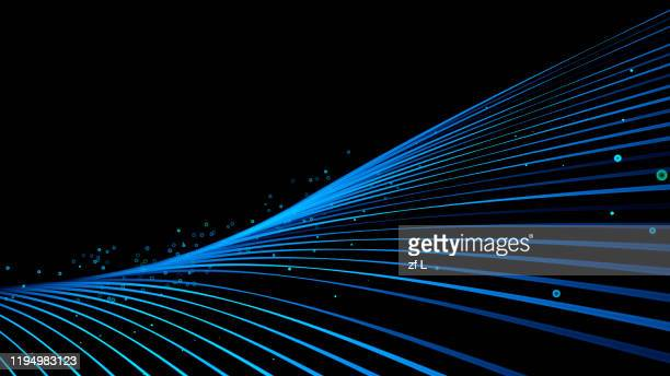flowing blue particle lines - data stock pictures, royalty-free photos & images
