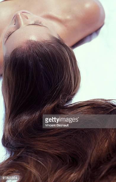 Flowing hair of woman