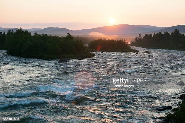 Flowing river at dusk