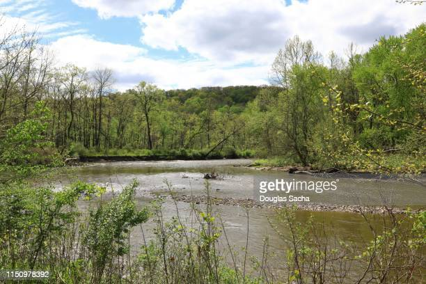 flowing river in a rural setting - cuyahoga river stock photos and pictures