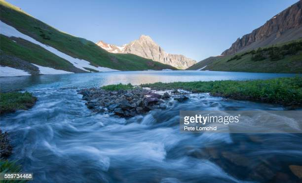 flowing water and alpine lake