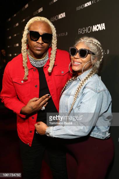 Floyd 'A1' Bentley and Lyrica Anderson attend the Fashion Nova x Cardi B Collaboration Launch Event at Boulevard3 on November 14, 2018 in Hollywood,...