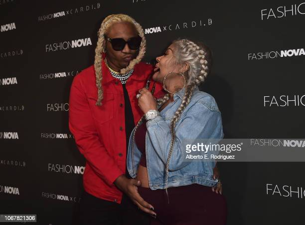 Floyd A1 Bentley and Lyrica Anderson attend the Fashion Nova x Cardi B Collaboration Launch Event at Boulevard3 on November 14 2018 in Hollywood...