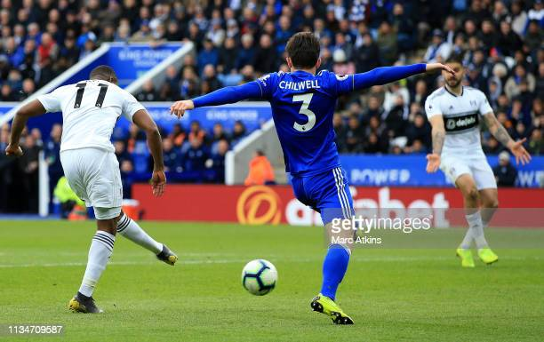 Floyd Ayite of Fulham scores his team's first goal during the Premier League match between Leicester City and Fulham FC at The King Power Stadium on...