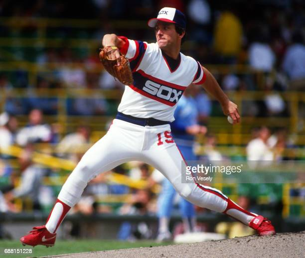 Floyd Bannister of the Chicago White Sox pitches during an MLB game at Comiskey Park in Chicago Illinois Bannister played for the White Sox from...