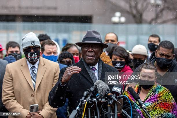 Floyd family lawyer, Attorney Ben Crump speaks during a press conference as Katie Wright , the mother of Daunte Wright, and other family and friends...