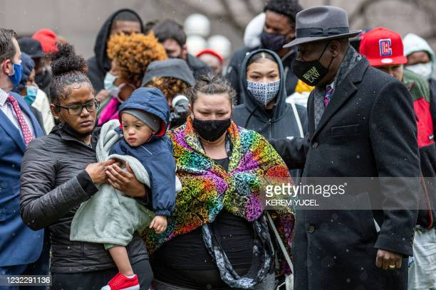Floyd family lawyer, Ben Crump , Katie Wright , mother of Daunte Wright, Chyna Whitaker Daunte Wright's girlfriend with their son Daunte Wright Jr,...
