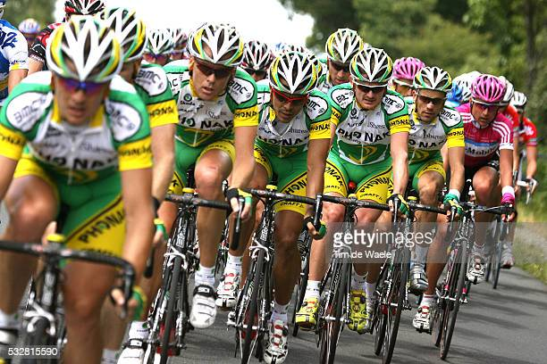 Floyd Landis is surrounded by his team during the seventeenth stage of the Tour de France 2006 from Saint-Jean-de-Maurienne to Morzine France. The...