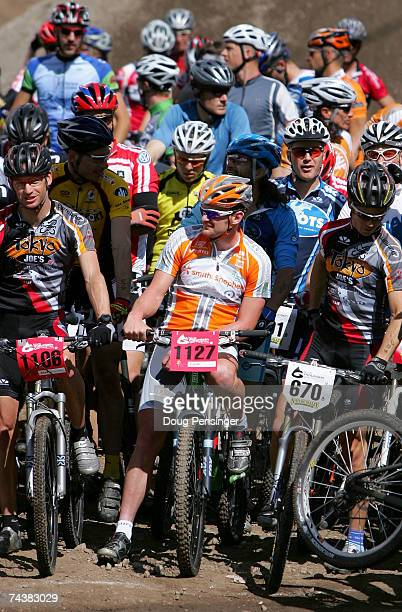 Floyd Landis of San Diego, California prepares to compete in the Nature Valley Mountain Bike Championship as a member of Athletes For A Cure during...