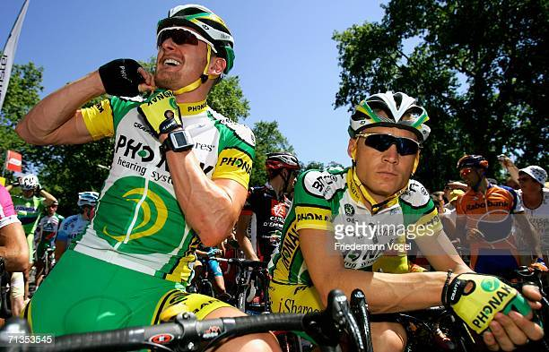 Floyd Landis of the USA and Bert Grabsch of Germany and the Phonak Team relaxes before Stage 1 of the 93rd Tour de France between Strasbourg and...