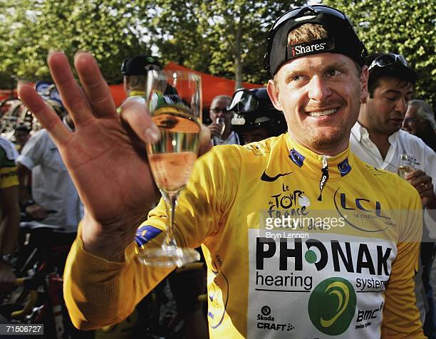 Floyd Landis of the USA and Phonak celebrates winning the 93rd Tour de France, on July 23 2006 in Paris, France.
