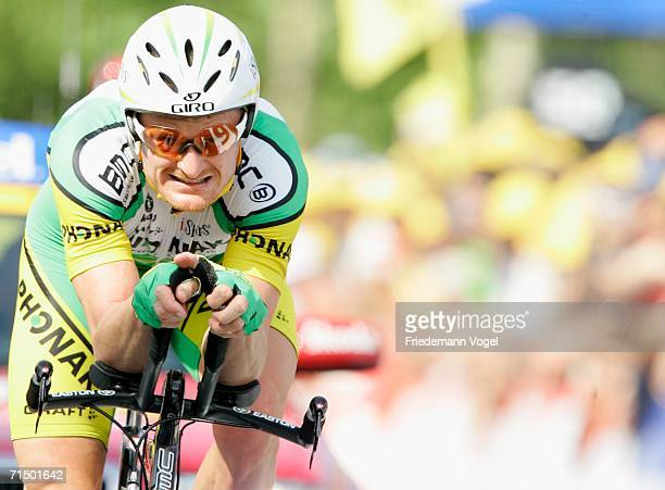 Floyd Landis of the USA and Phonak in action during Stage 19 time trial of the 93rd Tour de France between Le Creusot and Montceau-les-Mines on July...