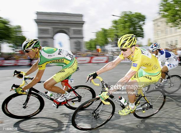 Floyd Landis of the USA and Phonak rides past the Champs Elysees during Stage 20 of the 93rd Tour de France between Antony-Parc de Sceaux and Paris...