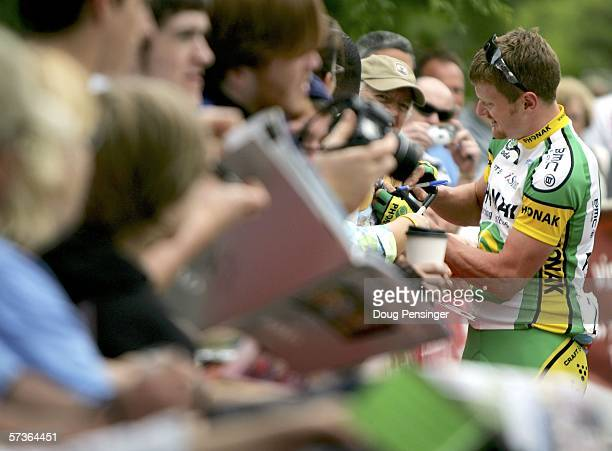 Floyd Landis of the USA and riding for Phonak Hearing Systems signs autographs at the start of Stage One of the 2006 Tour de Georgia on April 18,...