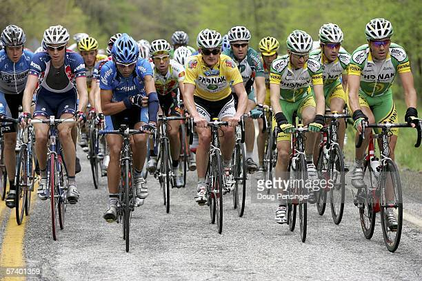 Floyd Landis of the USA and riding for Phonak Hearing Systems team climbs Hogpen Gap with the peloton as he successfully defended the yellow leaders...