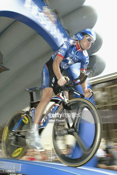 Floyd Landis of the USA and Team US Postal Service starts stage 9 time trial of the 2002 Tour De France on July 15th, 2002 from Lanester to Lorient.