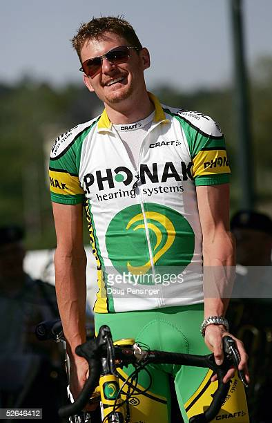 Floyd Landis of the USA waits for the presentation of teams at the Augusta Riverwalk Amphitheater prior to the Tour de Georgia on April 18, 2005 in...