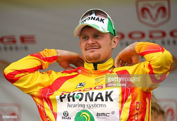 Floyd Landis of USA, riding for Team Phonak Hearing Systems, is presented with the yellow jersey as the overall leader after Stage 4 of the Tour De...