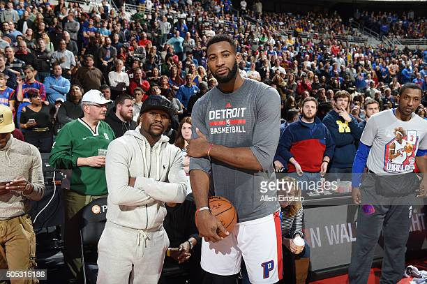 Floyd Mayweather and Andre Drummond of the Detroit Pistons pose for a picture before the game against the Golden State Warriors on January 16 2016 at...