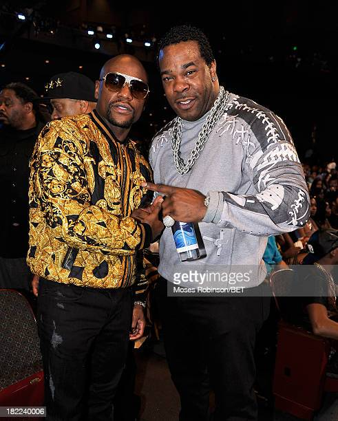 Floyd Mayweather and Busta Rhymes attend the BET Hip Hop Awards 2013 at Boisfeuillet Jones Atlanta Civic Center on September 28, 2013 in Atlanta,...