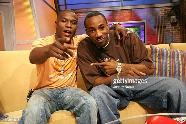 Floyd Mayweather and DJ Q45 during Floyd Mayweather Chingy and Hoopz of Flava Flav Show at BET at BET in New York City New York United States