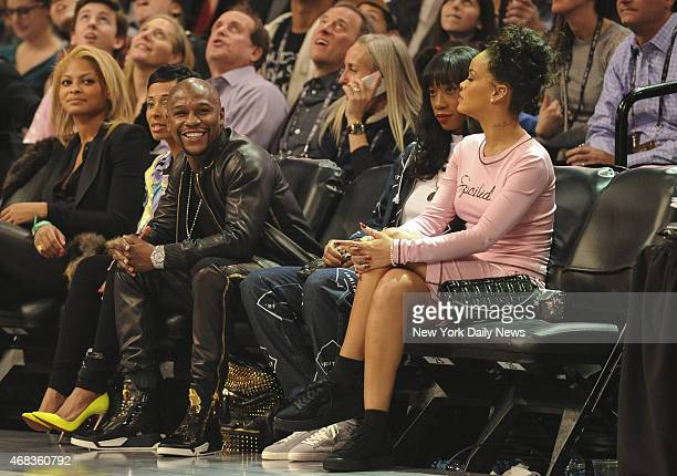 Floyd Mayweather and Rihanna All Star Saturday Night at Barclays Center part of the NBA All Star Weekend on Friday February 14 2015 Brooklyn NY