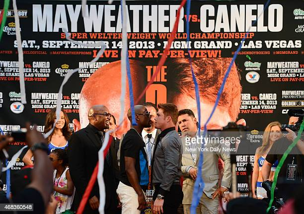 Floyd Mayweather and Saul Canelo Alvarez face off in the first stop in the press tour to promote their fight Sept 14 at MGM Grand in Las Vegas
