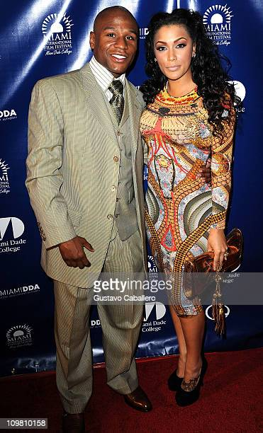 Floyd Mayweather and Shantel Jackson attends the World Premiere of Things Fall Apart at 2011 Miami International Film Festival on March 5 2011 in...