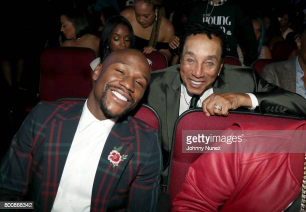Floyd Mayweather and Smokey Robinson at 2017 BET Awards at Microsoft Theater on June 25 2017 in Los Angeles California