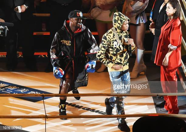Floyd Mayweather and son Koraun Mayfield arrives the RIZIN 14 at Saitama Super Arena on December 31 2018 in Saitama Japan