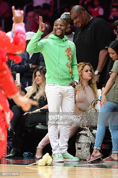 Floyd Mayweather attends a basketball game between the Portland Trail Blazers and the Los Angeles Clippers at Staples Center on November 9 2016 in...